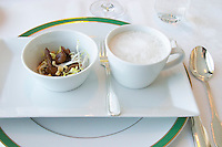 A starter dish with salad of cepes porcini mushrooms and a soup served in a cup of cepe mushrooms with white foam. Ulriksdal Ulriksdals Wärdshus Värdshus Wardshus Vardshus Restaurant, Stockholm, Sweden, Sverige, Europe