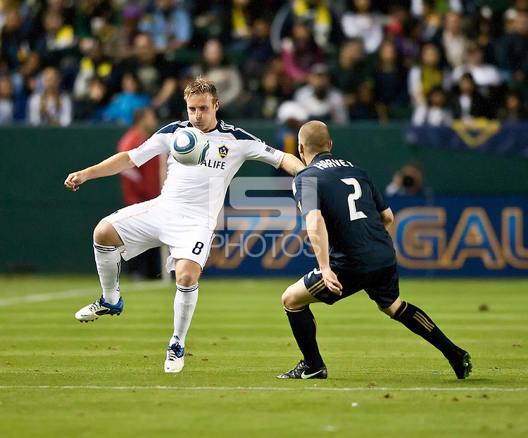 CARSON, CA – April 2, 2011: LA galaxy midfielder Chris Birchall (8) receives the ball during the match between LA Galaxy and Philadelphia Union at the Home Depot Center, March 26, 2011 in Carson, California. Final score LA Galaxy 1, Philadelphia Union 0.