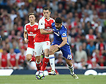 Arsenal's Granit Xhaka tussles with Chelsea's Diego Costa during the Premier League match at the Emirates Stadium, London. Picture date September 24th, 2016 Pic David Klein/Sportimage