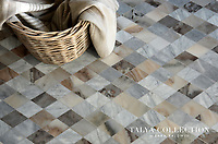 Almas, a stone waterjet mosaic shown in Pallisandra crosscut, Avenza, and Allure honed, is part of the Talya Collection by Sara Baldwin for Marble Systems.