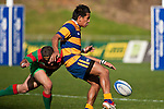 Jason Roache kicks ahead as Heinrich Fourie makes the tackle. Counties Manukau Premier Club Rugby final between Patumahoe & Waiuku played at Bayers Growers Stadium Pukekohe on Saturday August 8th 2009. Patumahoe won 11 - 9 after leading 11 - 6 at halftime.