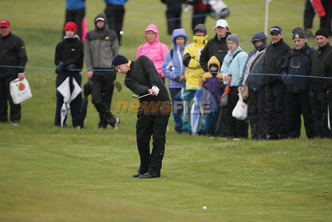 David Seim playing the 16th after play restarted on day 3 at the 3 Irish open in Co Louth Golf Club...Photo: Fran Caffrey/www.golffile.ie..