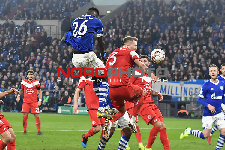 06.02.2019, Veltins-Arena, Gelsenkirchen, GER, DFB-Pokal Achtelfinale, Schalke 04 vs Fortuna Duesseldorf, DFL regulations prohibit any use of photographs as image sequences and/or quasi-video<br /> <br /> im Bild Salif Sane (#26, FC Schalke 04) macht das Tor zum 4:1<br /> <br /> Foto © nph/Mauelshagen