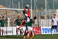 Mexico goalkeeper, Jose Santiago Hernandez Garcia, fumbles the ball and Dael Fry of England U21's (at the far post) scores the first England goal during Mexico Under-21 vs England Under-21, Tournoi Maurice Revello Final Football at Stade Francis Turcan on 9th June 2018