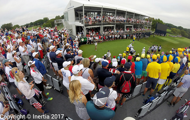 DES MOINES, IA - AUGUST 19: Europe's Karine Icher tees off on the first hole during Saturday morning's foursomes match at the 2017 Solheim Cup in Des Moines, IA. (Photo by Dave Eggen/Inertia)