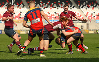 Monday 22nd April 2019 | 2019 Ulster Towns Cup Final<br /> <br /> John Arnold tackles Robbie Reid during the Ulster Towns Cup final between Enniskillen and Ballyclare at Kingspan Stadium, Ravenhill Park, Belfast. Northern Ireland. Photo John Dickson/Dicksondigital