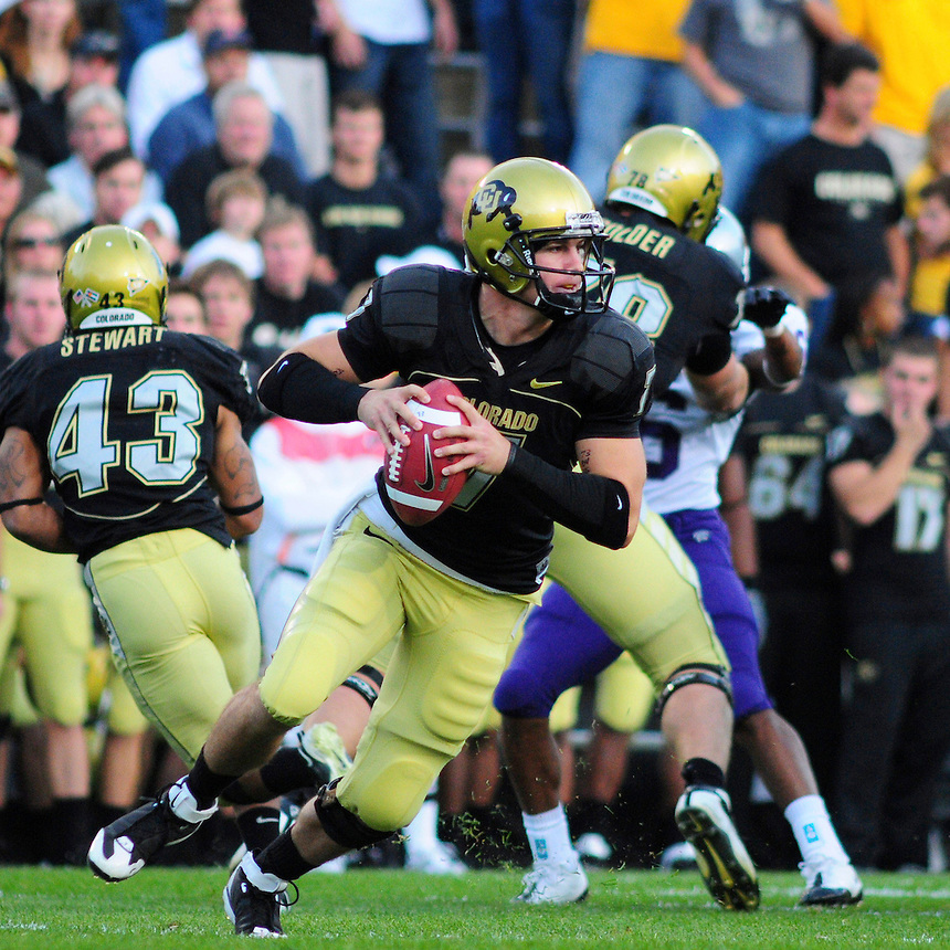 18 October 08: Colorado quarterback Cody Hawkins scrambles and looks for an open receiver during a game against Kansas State. The Colorado Buffaloes defeated the Kansas State Wildcats 14-13 at Folsom Field in Boulder, Colorado.