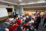 Wisconsin Badgers Head Coach Bo Ryan talks to his team after defeating the Oregon Ducks in the third-round game in the NCAA college basketball tournament Saturday, April 22, 2014 in Milwaukee. The Badgers won 85-77. (Photo by David Stluka)