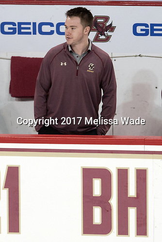 Brian Hurley (BC - Student Manager) - The visiting University of Vermont Catamounts tied the Boston College Eagles 2-2 on Saturday, February 18, 2017, Boston College's senior night at Kelley Rink in Conte Forum in Chestnut Hill, Massachusetts.Vermont and BC tied 2-2 on Saturday, February 18, 2017, Boston College's senior night at Kelley Rink in Conte Forum in Chestnut Hill, Massachusetts.