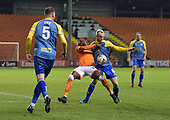 18/12/18 The Emirates FA Cup, 2nd Round Replay Blackpool v Solihull Moor<br /> <br /> Joe Dodoo blocked by Alex Gudger