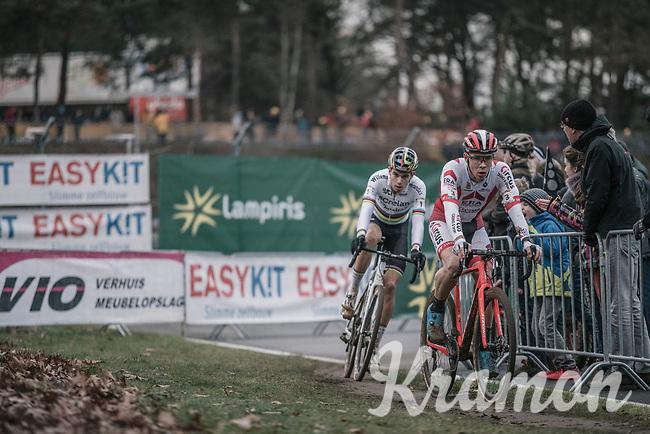 Laurens Sweeck (BEL/Era Circus) and Wout Van Aert (BEL/Crelan Charles) in pursuit. <br /> <br /> Elite Men's Race<br /> UCI CX World Cup Zolder / Belgium 2017
