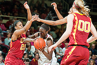 STANFORD, CA- FEBRUARY 9, 2012 - Chiney Ogwumike battles on court during PAC-12 conference play against USC at Maples Pavilion on the Stanford campus. The Cardinal defeated the Trojans 69-52.