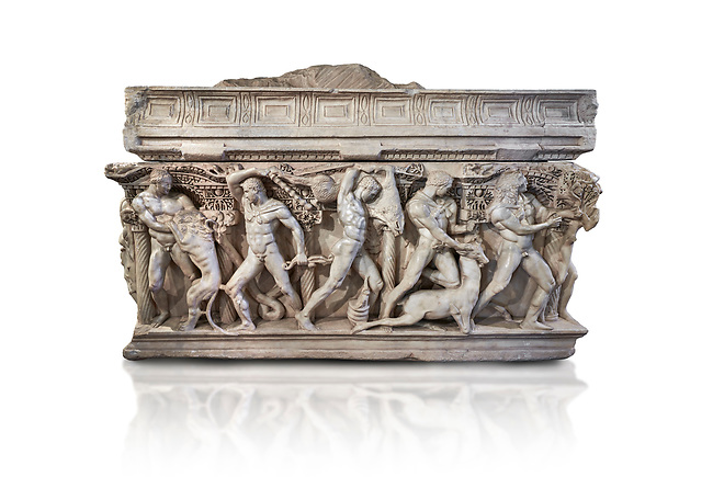 """Side panel of a Roman relief sculpted Hercules sarcophagus with kline couch lid, """"Columned Sarcophagi of Asia Minor"""" style typical of Sidamara, 250-260 AD, Konya Archaeological Museum, Turkey. Against a white background."""