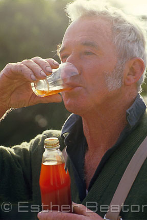 Muttonbirder drinks raw oil squeezed from shearwater everyday for health. Great Dog Island, Tasmania.