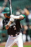 Hawaii Rainbow Warriors outfielder Kaeo Aliviado (2) at bat during Houston College Classic against the Baylor Bears on March 6, 2015 at Minute Maid Park in Houston, Texas. Hawaii defeated Baylor 2-1. (Andrew Woolley/Four Seam Images)