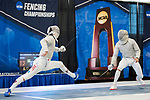 UNIVERSITY PARK, PA - MARCH 25: Eli Dershwitz of Harvard takes on Ziad Elsissy of Wayne State University during the finals of the saber competition during the Division I Men's Fencing Championship held at the Multi-Sport Facility on the Penn State University campus on March 25, 2018 in University Park, Pennsylvania. (Photo by Doug Stroud/NCAA Photos via Getty Images)