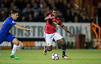 Tosin Kehinde of Manchester United with Ruben SAMMUT of Chelsea during the U23 Premier League 2 match between Chelsea and Manchester United at the EBB Stadium, Aldershot, England on 18 September 2017. Photo by Andy Rowland.