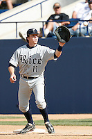 Danny Lehmann of the Rice Owls during a game against the Cal State Fullerton Titans at Goodwin Field on March 4, 2007 in Fullerton, California. (Larry Goren/Four Seam Images)
