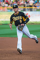 Alex Yarbrough (9) the second baseman of the Salt Lake Bees on defense against the Iowa Cubs in Pacific Coast League action at Smith's Ballpark on August 21, 2015 in Salt Lake City, Utah. The Bees defeated the Cubs 12-8. (Stephen Smith/Four Seam Images)