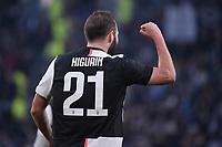 Gonzalo Higuain of Juventus celebrates after scoring the goal of 3-0 <br /> Torino 6-1-2020 Juventus Stadium <br /> Football Serie A 2019/2020 <br /> Juventus FC - Cagliari Calcio <br /> Photo Federico Tardito / Insidefoto