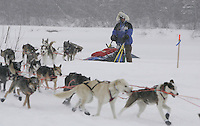 Norwegian Bjonar Anderson arrives at the Nikolai checkpoint during an all-day snow storm on Tuesday afternoon.