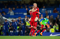 Huddersfield Town's Alex Pritchard (right) and Jonathan Hogg celebrate at the final whistle <br /> <br /> Photographer Craig Mercer/CameraSport<br /> <br /> The Premier League - Chelsea v Huddersfield Town - Wednesday 9th May 2018 - Stamford Bridge - London<br /> <br /> World Copyright &copy; 2018 CameraSport. All rights reserved. 43 Linden Ave. Countesthorpe. Leicester. England. LE8 5PG - Tel: +44 (0) 116 277 4147 - admin@camerasport.com - www.camerasport.com