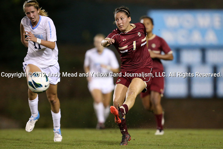 04 October 2012: Boston College's Victoria DiMartino (1) and UNC's Kelly McFarlane (11). The University of North Carolina Tar Heels defeated the Boston College Eagles 1-0 at Fetzer Field in Chapel Hill, North Carolina in a 2012 NCAA Division I Women's Soccer game.