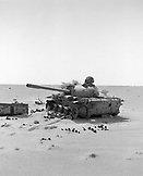 ERITREA, Assab, an old burned out tank is a reminder of the Eritrean-Ethiopian War, just off the road leading from Ethiopia Eritrea boarder back North towards Massawa