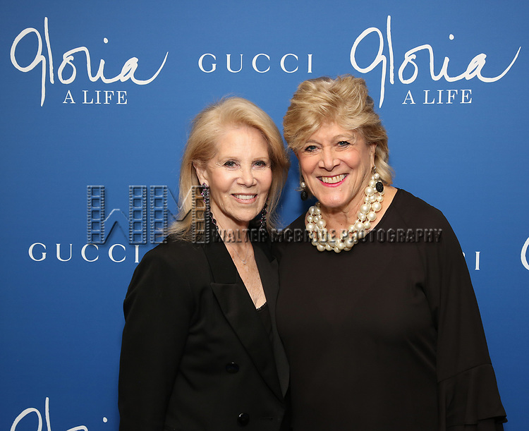 "Daryl Roth and Lynn Sherr attends the Opening Night Performance of ""Gloria: A Life"" on October 18, 2018 at the Daryl Roth Theatre in New York City."