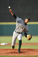 Greensboro Grasshoppers Starting Pitcher Alex Manasa (28) throws to a batter during a game with the Hickory Crawdads at L.P. Frans Stadium on May 27, 2019 in Hickory, North Carolina.  The Grasshoppers defeated the Crawdads 8-2. (Tracy Proffitt/Four Seam Images)
