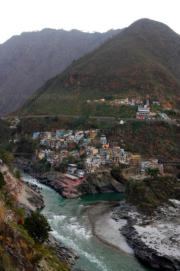 the town of Devprayag a centre for pilrimage in the foothills of the Himalayas,and the confluence of Bhagirathia and Alaknanda tributaries, where the great river Ganges starts..The Ganges is 1557 miles long and stretches from the Himalayas to the Indian Port of Calcutta supplying water to one twelth of the worlds population. .  The Ganges is worshipped by the Hindu faith and is believed to be not only a source of life but also able to wash one's sins away, and Hindu's from across the globe make pilgrimage to the river referring to it as Ma Ganga.