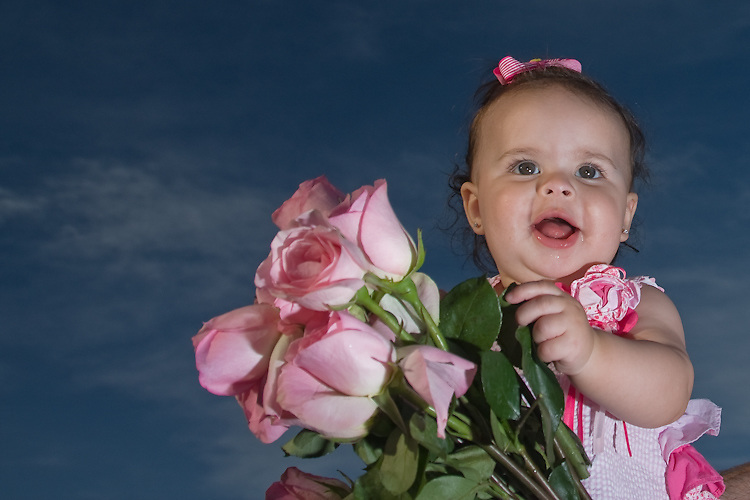 A baby plays with her bouquet during a portrait shoot.