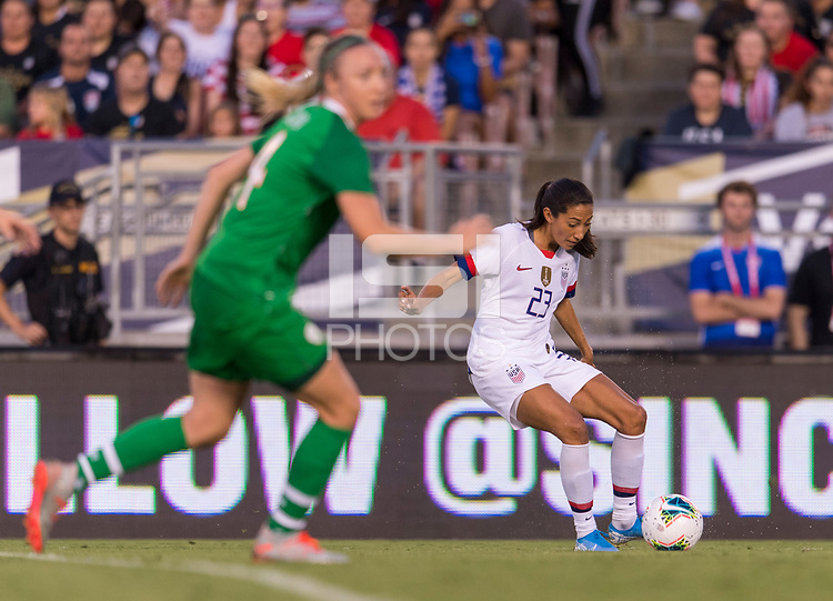 PASADENA, CA - AUGUST 4: Christen Press #23 crosses the ball during a game between Ireland and USWNT at Rose Bowl on August 3, 2019 in Pasadena, California.