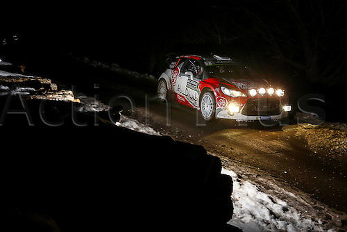 21.01.2016. Monte Carlo, Monaco. The Monte Carlo Rally 2016. The cars takes to the course. Kris Meeke (IRL) and Paul Nagle (GB) - Citroen DS3 WRC