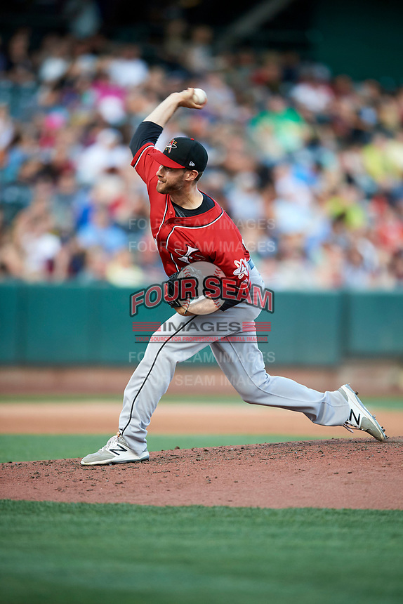 Albuquerque Isotopes starting pitcher Matt Flemer (24) delivers a pitch to the plate against the Salt Lake Bees  in Pacific Coast League action at Smith's Ballpark on June 10, 2017 in Salt Lake City, Utah. The Isotopes defeated the Bees 4-2. (Stephen Smith/Four Seam Images)