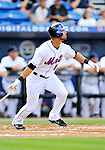 28 February 2011: New York Mets outfielder Angel Pagan hits a solo home run during a Spring Training game against the Washington Nationals at Digital Domain Park in Port St. Lucie, Florida. The Nationals defeated the Mets 9-3 in Grapefruit League action. Mandatory Credit: Ed Wolfstein Photo