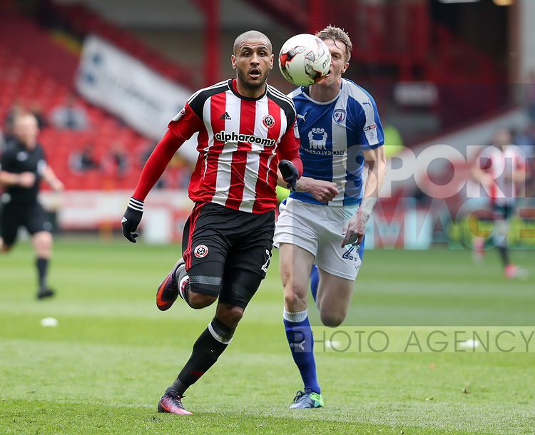 Leon Clarke of Sheffield United during the English League One match at Bramall Lane Stadium, Sheffield. Picture date: April 30th, 2017. Pic credit should read: Jamie Tyerman/Sportimage