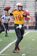College Park, MD - April 22, 2017: Maryland Terrapins quarterback Max Bortenschlager (18) in action during game the Maryland Spring Game at  Capital One Field at Maryland Stadium in College Park, MD.  (Photo by Elliott Brown/Media Images International)