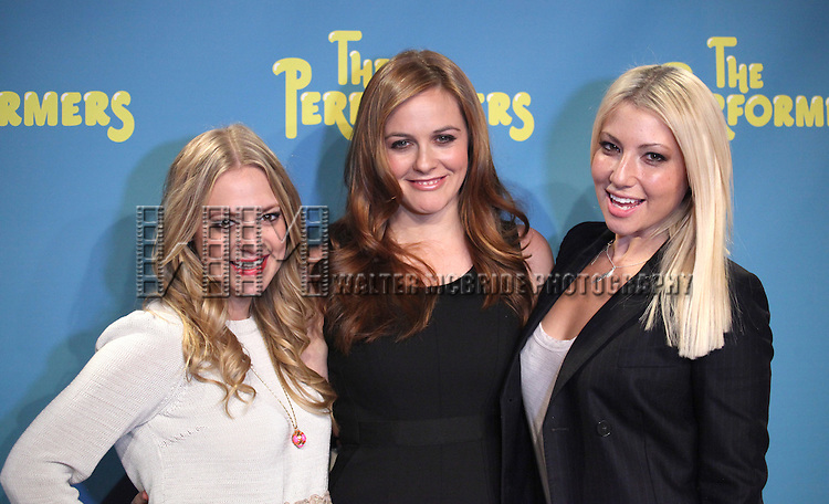 "Actress Jenni Barber, actress Alicia Silverstone and actress Ari Graynor attends press event to introduce the cast and creators of the new Broadway play ""The Performers""at the Hard Rock Cafe on Tuesday, Sept. 25, 2012 in New York. (Photo by © Walter McBride/WM Photography//AP)"