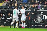 06.10.2019, Commerzbankarena, Frankfurt, GER, 1. FBL, Eintracht Frankfurt vs. SV Werder Bremen, <br /> <br /> DFL REGULATIONS PROHIBIT ANY USE OF PHOTOGRAPHS AS IMAGE SEQUENCES AND/OR QUASI-VIDEO.<br /> <br /> im Bild: Auswechslung Josh Sargent (SV Werder Bremen #19), Benjamin Goller (SV Werder Bremen #39)<br /> <br /> Foto © nordphoto / Fabisch
