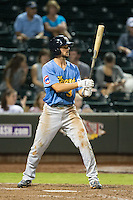 Chesney Young (3) of the Myrtle Beach Pelicans at bat against the Winston-Salem Dash at BB&T Ballpark on August 20, 2015 in Winston-Salem, North Carolina.  The Dash defeated the Pelicans 5-4 on a walk-off wild pitch in the bottom of the 9th inning.  (Brian Westerholt/Four Seam Images)