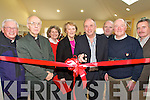 . TAPE CUTTING: Adventurer Pat Falvey cuts the tape to mark the official opening of  the new Physiotherapy Unit at Castleisland Day Care Centre on Friday last..L/r. Canon Denis O'Mahony,  Rev.Joe Hardy, Marcella Finn, Monica Prendeville, Pat Falvey, Fr. Michael Moynihan, Donal Nelligan and Maurice McAuliffe.