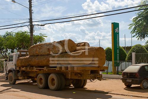 Pará State, Brazil. São Félix do Xingu. Logging truck outside the Banco da Amazônia.