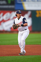 Cedar Rapids Kernels third baseman T.J. White (16) warmup throw to first during a game against the Kane County Cougars on August 18, 2015 at Perfect Game Field in Cedar Rapids, Iowa.  Kane County defeated Cedar Rapids 1-0.  (Mike Janes/Four Seam Images)