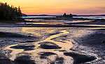 Deer Isle, Maine: Sunset colors reflecting at low tide at Pressey Cove