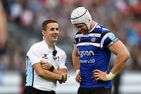 Referee Luke Pearce has a word with Dave Attwood of Bath Rugby during a break in play. Gallagher Premiership match, between Bath Rugby and Gloucester Rugby on September 8, 2018 at the Recreation Ground in Bath, England. Photo by: Patrick Khachfe / Onside Images