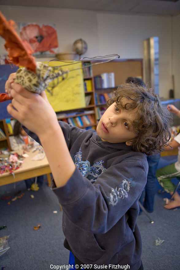 For Planet Arc: Students at Kimball Elementary School, Seattle.  As part of a multi-school project, they are making creatures for an Arts Corps/Planet Arc sculptural piece celebrating the Seeds of Compassion.