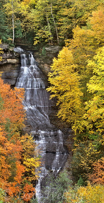 95000004 vertical panoramic view of chappel falls surrounded by deciduous trees in fall color in the upper peninnsula of michigan united states