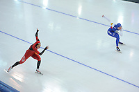 SPEED SKATING: STAVANGER: Sørmarka Arena, 29-01-2016, ISU World Cup, 500m Division A, Hong Zhang (CHN), Heather Richardson-Bergsma (USA), ©photo Martin de Jong