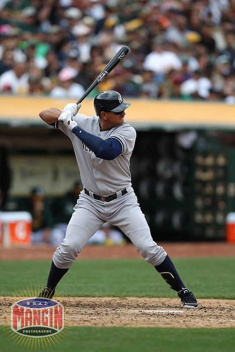 OAKLAND, CA - MAY 26:  Alex Rodriguez #13 of the New York Yankees bats against the Oakland Athletics during the game at O.co Coliseum on Saturday May 26, 2012 in Oakland, California. Photo by Brad Mangin